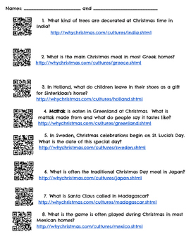 Christmas Around the World Scavenger Hunt - QR Codes