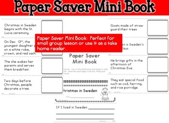 Christmas Around the World Sweden mini book fluency center foldables