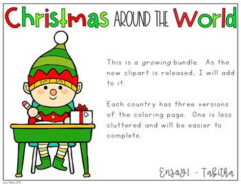 Christmas Around the World Vocabulary Coloring Pages