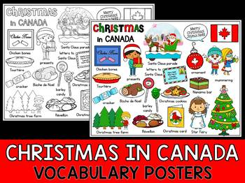 Christmas Around the World - Vocabulary & Mini Word Wall Coloring - Canada