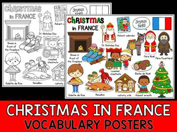 Christmas Around the World - Vocabulary & Mini Word Wall Coloring - France