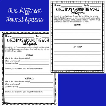 Christmas Around the World Webquest FREEBIE by Adventures with Miss A