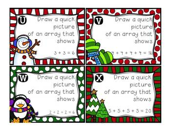 Christmas Arrays Repeated Addition Cards {Scoot, Gallery Walk, Task Cards}