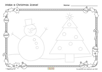 Christmas Scene Drawing.Christmas Art Frames And Tracing Sheets For Guided Drawing Or Stand Alone