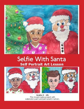 Christmas Art Lesson Selfie With Santa Self Portrait Great Holiday Gift