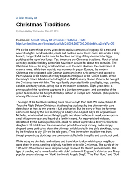 Christmas Article - Reading Comprehension