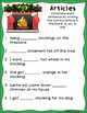 Christmas Articles Printables - a, an, the