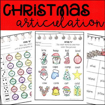 Christmas Articulation Activities ALL SOUNDS