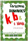 Christmas Articulation Dominoes - 'k', 'b', & 's' blends
