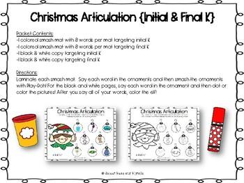 Christmas Articulation Freebie: Smash Mats & Coloring Sheets {Initial & Final K}