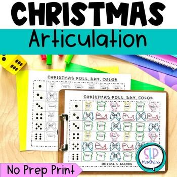 Christmas NO PREP Articulation Roll Say Color - Sound Prac