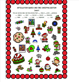 Christmas Articulation Search and Find - R,S,L,Blends,SH,CH,TH