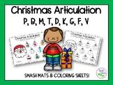 Christmas Articulation: Smash Mats & Coloring Sheets {p, b, m, t, d, k, g, f, v}