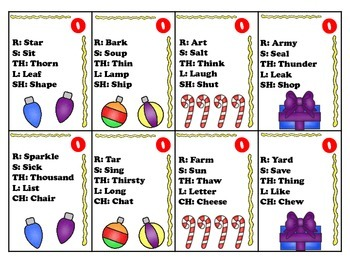 Christmas Articulation Card Game- Practice r, s/z, th, ch/sh, and l