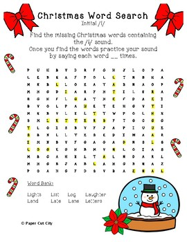Christmas Articulation Word Search /l/