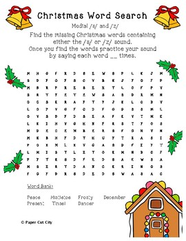 Christmas Articulation Word Search /s/, /z/, and S-Blends