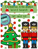 """Christmas Articulation Word Search """"sh"""" and """"ch"""""""