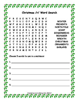 Christmas Articulation Word Searches