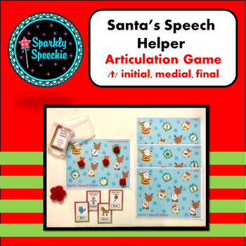 Christmas Articultion T ALL Positions!  Santa's Speech Therapy Helper-LOW PREP