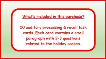 Christmas Auditory Processing, WH Questions, Memory Recall Skills