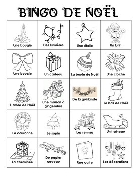 Christmas BINGO in French