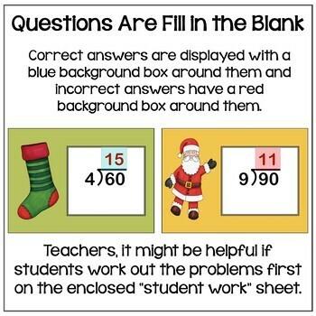 Christmas BOOM Cards - 2 Digit Long Division Digital Task Cards