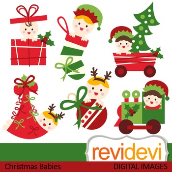 Christmas Babies Clip art (red, green, cute baby) clipart 08113