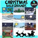 Christmas Background Scenes Clip Art Bundle {Educlips Clipart}