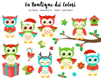 Christmas Owls Clipart - PNG Cute Clip Art Graphics - For Small Commercial Use