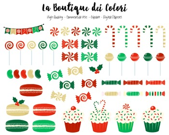 Christmas Candies Clipart - PNG Candy Clip Art Graphics - Small Commercial Use