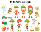 Christmas Elfs Clipart - Santa's Helpers PNG Clip Art - Small Commercial Use
