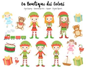 Christmas Elfs Clipart - Santa's Helpers PNG Clip Art - Sm