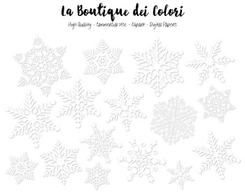 Christmas Clipart - Black and White Snowflake - Small Commercial Use