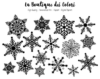 Christmas Clipart - Black and White Snowflake - Small Comm