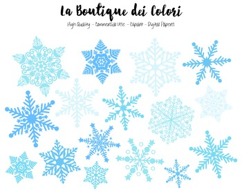 Christmas Clipart - PNG Blue Snowflakes - For Small Commer