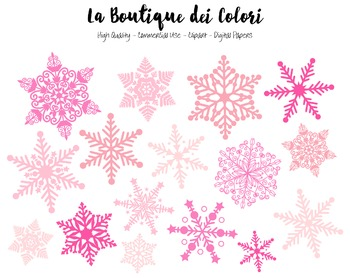 Christmas Clipart - Cute Pink Snowflake PNG  - For Small Commercial Use