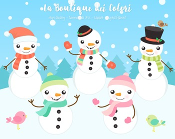 Christmas Snowman Clipart - PNG Cute Clip Art Graphics - Small Commercial Use