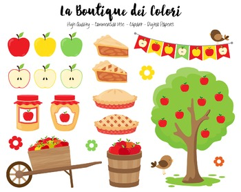 Apple Picking Clipart - Autumn PNG Cute Fall Clip Art - Small Commercial Use