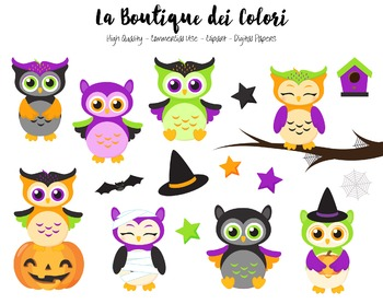 Halloween Owls Clipart - PNG Cute Clip Art Graphics - For
