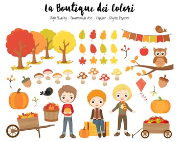 Autumn Boys Clipart - PNG Cute Clip Art Fall Graphics - Small Commercial Use