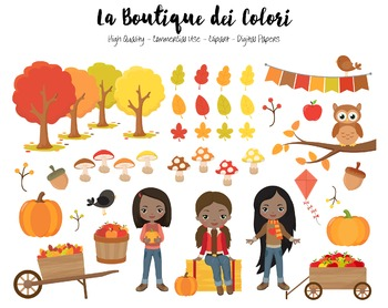 Autumn Girls Clipart - PNG Cute Clip Art Fall Graphics - Small Commercial Use