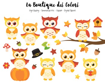 Fall Owls Clipart - PNG Cute Autumn Animals Clip Art - Small Commercial Use