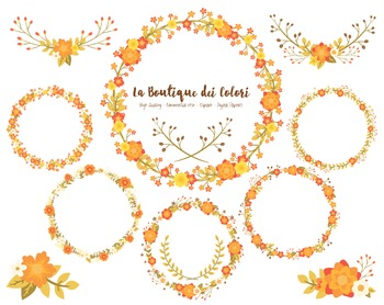 Autumn Flower Wreath Clipart - PNG Fall Clip Art - Small Commercial Use