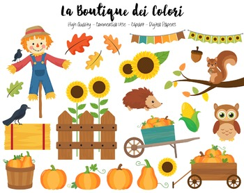 Autumn Pumpkin Harvest Clipart - PNG Cute Fall Clip Art - Small Commercial Use