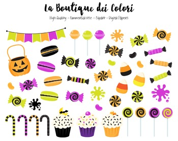 Halloween Candy Clipart - PNG Trick or Treat Clip Art - Small Commercial Use