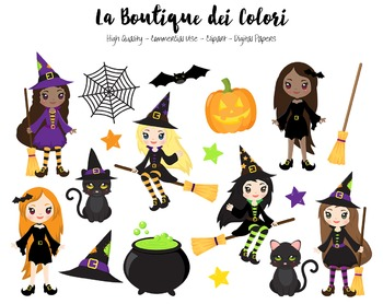 Halloween Witch Clipart - PNG Spooky Clip Art Graphics - Small Commercial Use