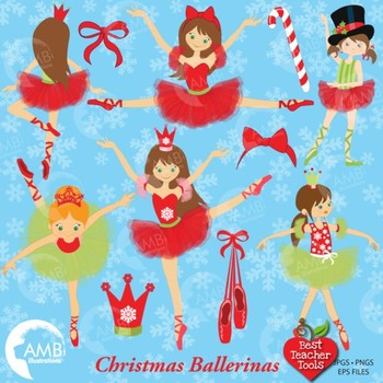 Christmas Ballerina Clipart, Christmas Fairies, {Best Teacher Tools}, AMB-571