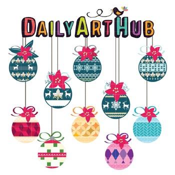 Christmas Balls Clip Art - Great for Art Class Projects!