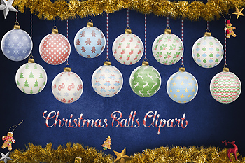 Christmas Tree Balls.Christmas Balls Clipart Hand Painted Christmas Tree Decoration Xmas Ornaments