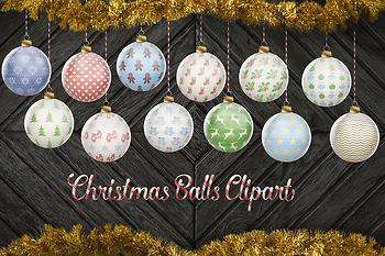 Christmas Balls Clipart, Hand Painted Christmas Tree Decoration, Xmas Ornaments